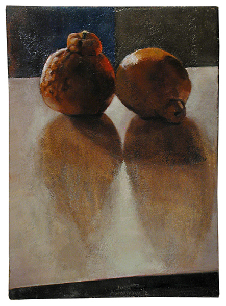 A Pair of Hybrids, Oil on prepared Jerusalem stone-ground on board, 34 x 24.5 cm, 2000 Heddy Abramowitz