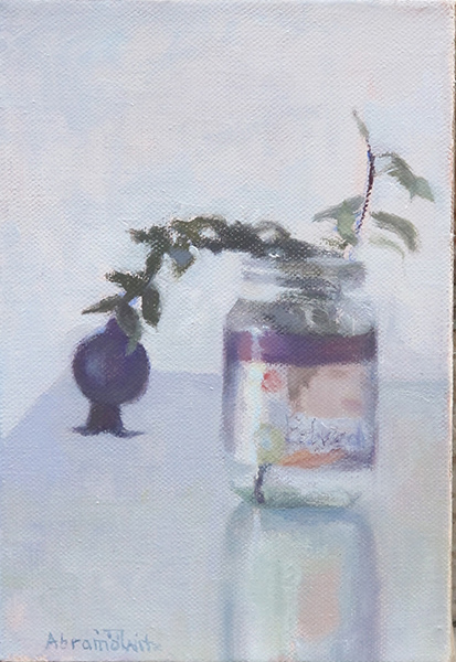Beloved (baby food jar and pomegranate bud), Oil on linen, 20 x 30 cm, 2018 Heddy Abramowitz