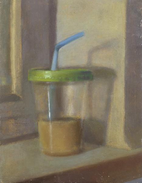 Blue Straw (Diet Iced-coffee), Oil on prepared Jerusalem stone ground on board, 30 x 24.5 cm, 2008 Heddy Abramowitz
