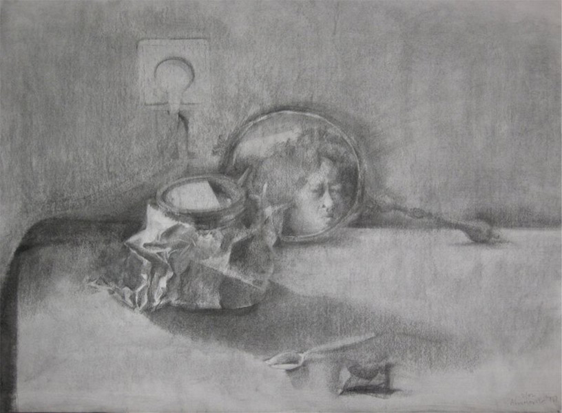 Carry-out Coffee and Self-portrait (Inheritance Series), charcoal on paper, 49 x 68 cm, 2002, Heddy Abramowitz