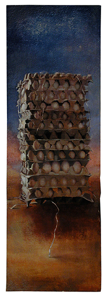 Egg Cartons Tower, Oil on Jerusalem stone-prepared ground on board, 120 x 40 cm, 2002 Heddy Abramowitz