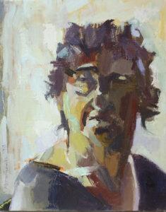 """Hitting 64 (64 Series)"" Oil on linen, 35 x 28 cm, 2019 Heddy Breuer Abramowitz"