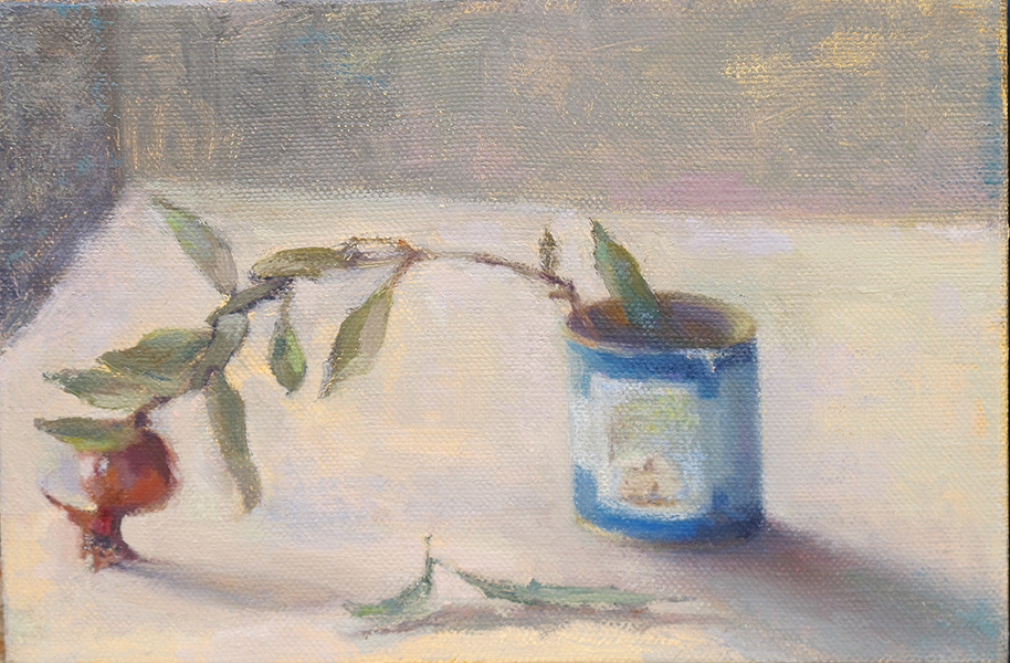 Rachel's Tomb on Memorial Candle and Budding Pomegranate, Oil on linen, 20 x 30 cm, 2017 Heddy Abramowitz