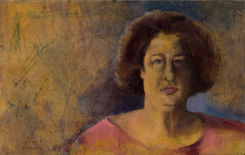 """Heddy Abramowitz """"See-through"""" oil on found board 30 x 49 cm 2005"""