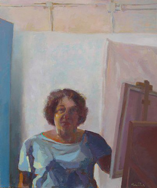 "Heddy Abramowitz ""Self Portrait at Easel"" 2012 oil on linen 60 x 50 cm"