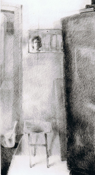 Self-portrait with Easel, graphite on paper 119 x 62 cm, 1995, Heddy Abramowitz