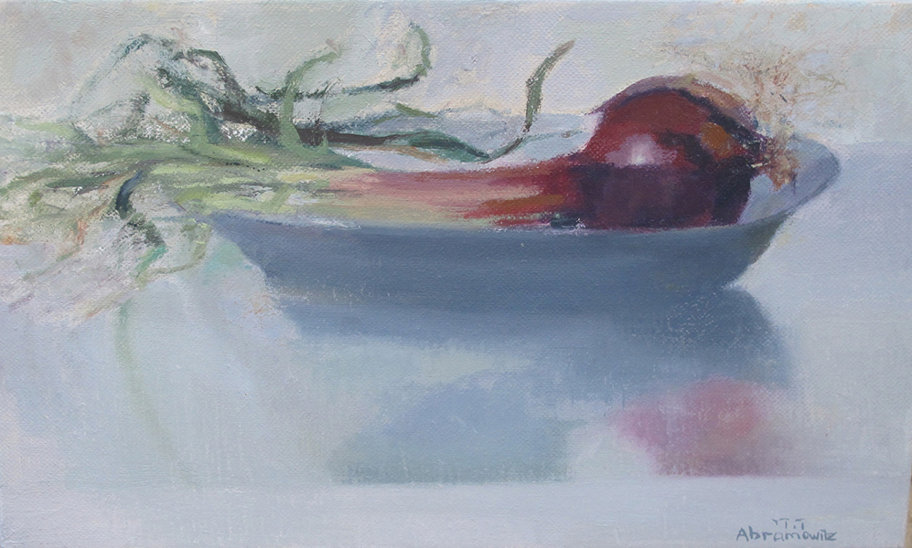 Sprouting Purple Onion, Oil on linen, 23 x 380 cm, 2013 Heddy Abramowitz