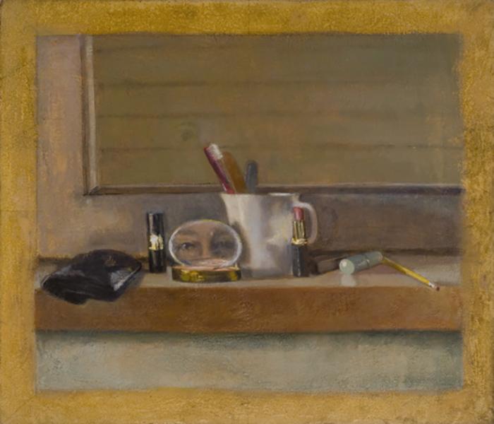 """Heddy Abramowitz """"Through Her Mirror II (Inheritance Series)"""" 2007, 60  x 70 cm oil on prepared Jerusalem stone ground"""