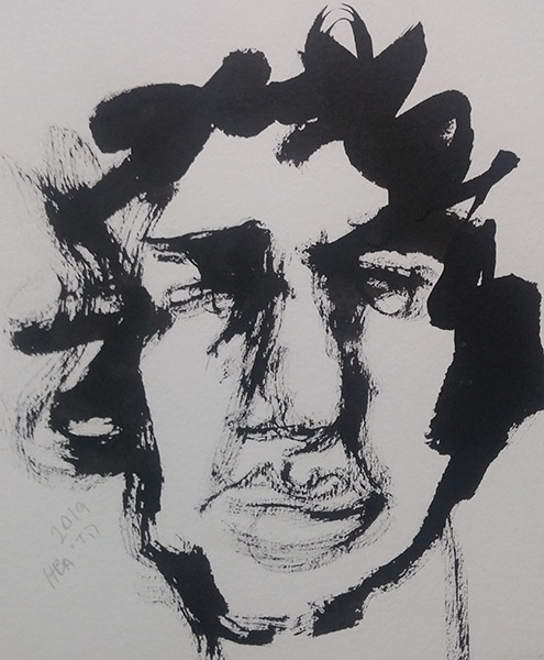Self-portrait, sumi ink on paper, 16 x 16 cm, 2019 Heddy Abramowitz