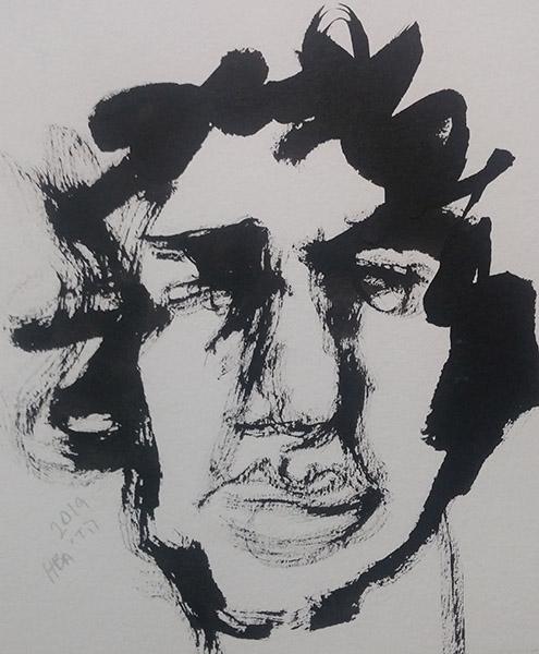 Self-portrait, sumi ink on paper, 16 x 16 cm, 2019 Heddy Abramowitz
