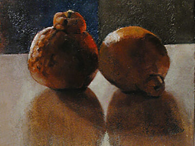 A Pair of Hybrids Oil on Jerusalem stone- prepared ground board, Heddy Abramowitz