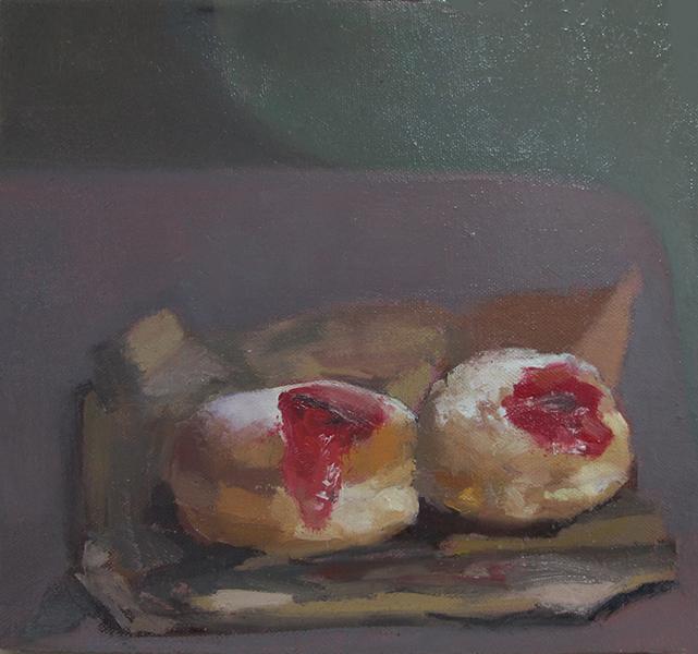 Pair of Sufganiyot, Oil on linen 25 x 27 cm, 2014 Heddy Abramowitz