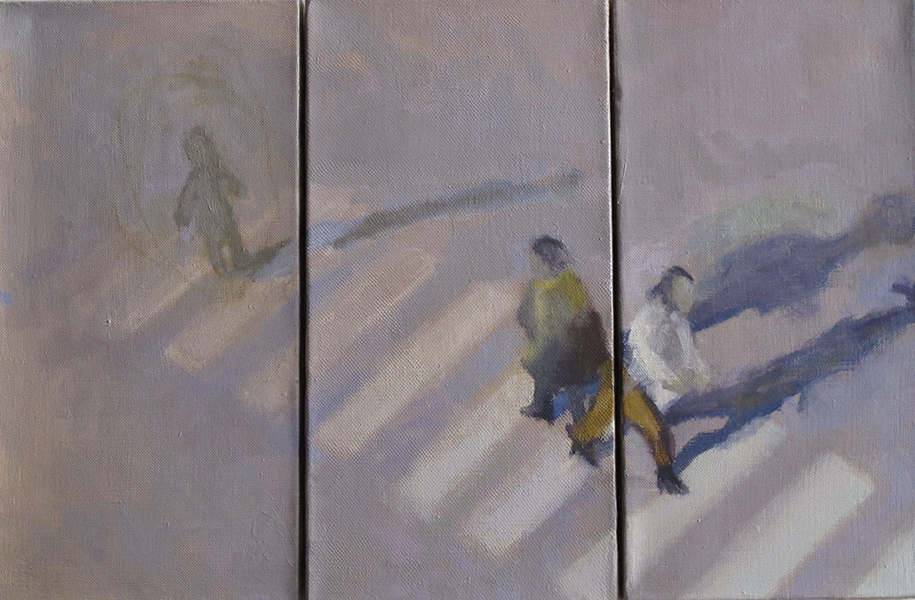 At the Edge Crossings Series, Tryptych oil on linen, 3 panels total, 40 x 60 cm, 2014 Heddy Abramowitz