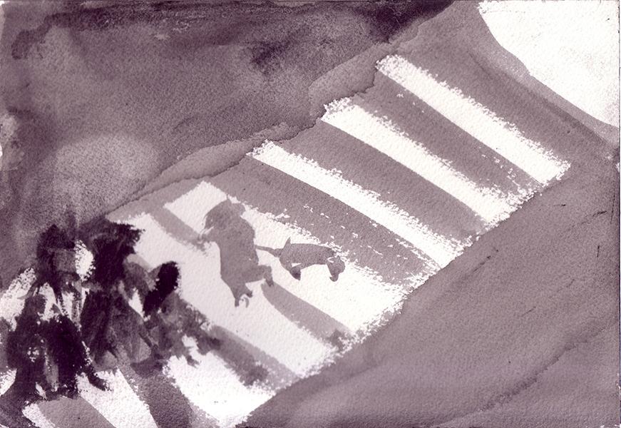 Crossings Series, number 8  Sumi ink on paper, 18 x 26 cm, 2006 Heddy Abramowitz