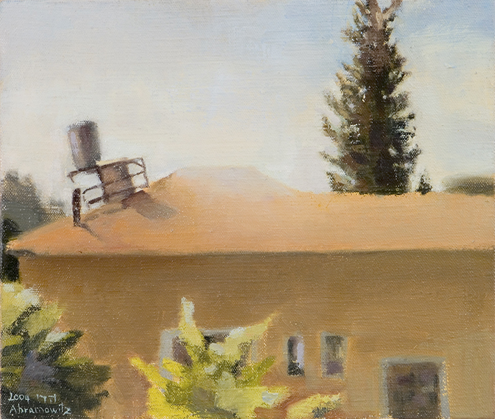 Rooftop and Cypress  Oil on linen, 31 x 35.5 cm, 2004 Heddy Abramowitz