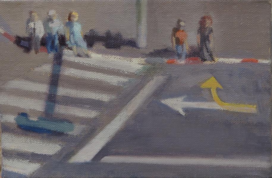 Stop Light Crossings Series, oil on linen, 20 x 30 cm, 2006 Heddy Abramowitz